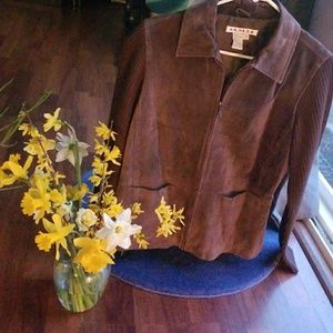 Genuine Brown leather jacket with sweater arms.